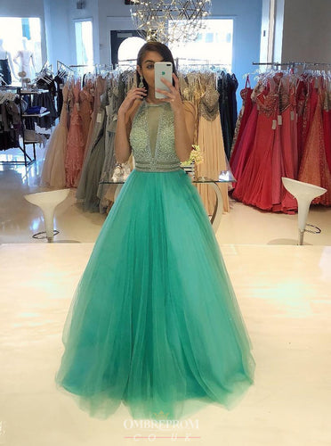 Elegant A-line High neck Beading Formal Gown Long Prom Dress OP747