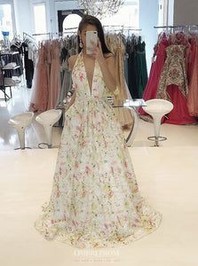 Flowy A-line Plunging Neckline Floral Long Prom Dress OP748