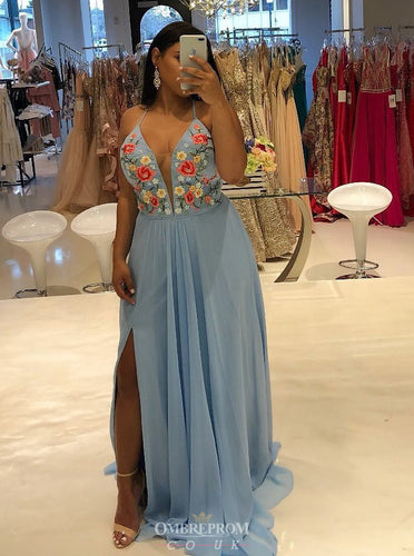 Spaghetti Chiffon Embroidered Long Blue Plus Size Prom Dress With Slit OP744