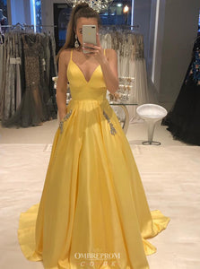 Spaghetti-straps V-neck Yellow Satin Prom Dress with Beaded Pockets OP738