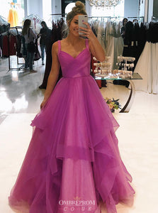 Charming A-line Straps V-neck Long Prom Dress with Ruffles OP739