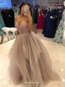 Spaghetti-straps Tulle Long Prom Dress, Sexy Princess Dance Dress OP741