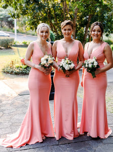 Pink Simple V-Neck Satin Long Trumpet Bridesmaid Dresses OB205