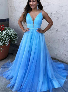 V-Neck Blue Long Prom Dresses Tulle Formal Dress with Beading PO024