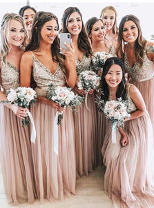 A-Line V-neck Sequins Tulle Blush Long Bridesmaid Dresses OB207