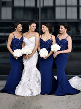 Spaghetti Straps Blue Mermaid Bridesmaid Dresses with Appliques Beading OB211