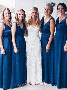 Elegant A-Line V-Neck Royal Blue Long Bridesmaid Dresses OB208
