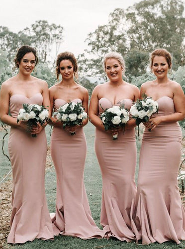 Simple Sweetheart Mermaid Backless Blush Long Bridesmaid Dresses OB214