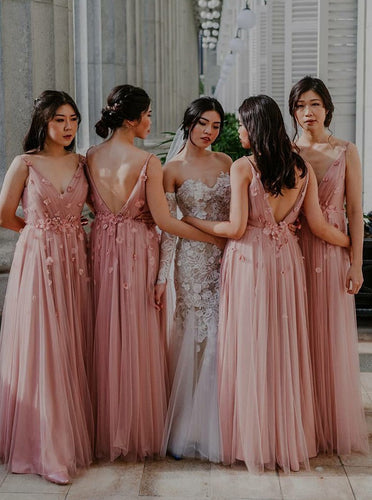 Pink A-Line V-Neck Backless Long Bridesmaid Dress with Flowers OB209