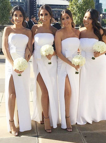 White Strapless Sheath Bridesmaid Dresses Slit with Ruched OB212