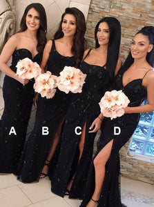 Mermaid Lace Appliques Beaded Black Bridesmaid Dresses with Split OB210