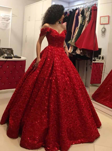 Elegant Ball Gown Off the Shoulder Red Prom Quinceanera Dress OP726