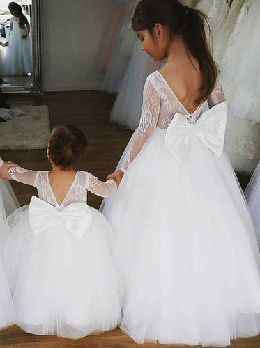 Cute Lace Long Sleeves Ball Gown Bowknot Flower Girl Dress OF134
