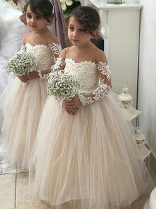 A Line Round Neck Long Sleeves Tulle Flower Girl Dress OF139