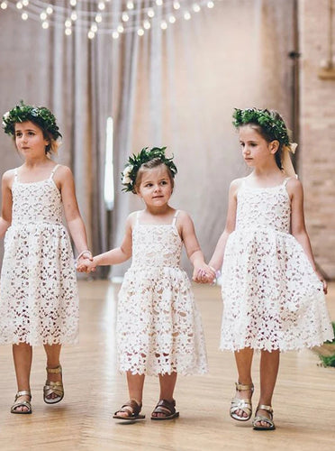 Cute A Line Spaghetti Straps Tea Length Lace Flower Girl Dress OF140