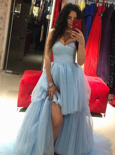 Sweetheart Hi-Lo Tulle Blue Long Prom Dresses With Train PO027