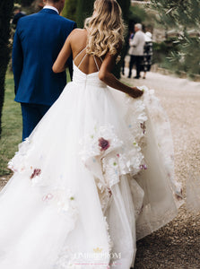 Princess Floral Appliques Bridal Gown Backless Wedding Dress OW466