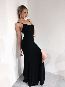 Simple Sheath Spaghetti Straps Black Long Prom Dress with Slit OP692
