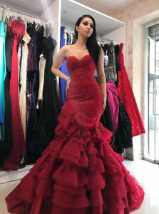 Burgundy Prom Dress Sweetheart Mermaid Layered Formal Gown OP736