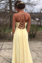 Daffodil Spaghetti Chiffon Slit Long Prom Dress With Embroidery OP743