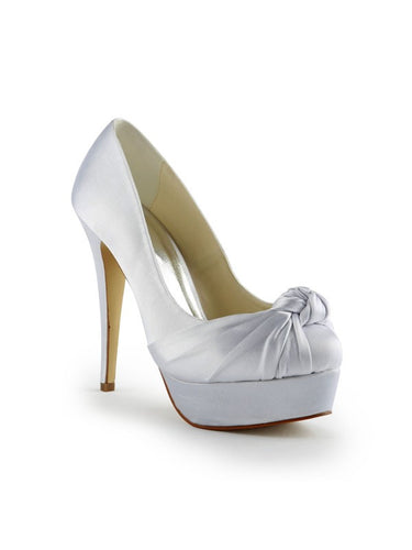 White Wedding Shoes Satin Stiletto Heel Pumps With Ruched OS138