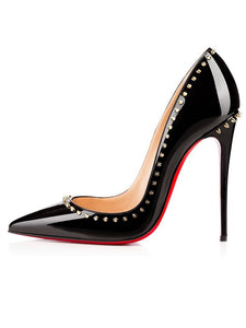 Black High Heels Patent Leather Closed Toe Stiletto Heel OS134