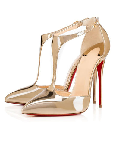 Patent Leather Closed Toe Gold Sandals Shoes OS133