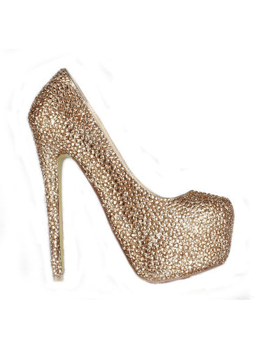 Gold Sheepskin Platform With Rhinestone High Heels OS116