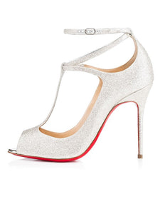 Sparkling Glitter Peep Toe with Ankle Strap High Heels OS119