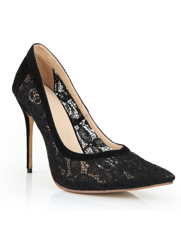 Black Lace High Heels Closed Toe Office Stiletto Heel OS126