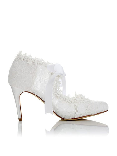 White Lace Wedding Shoes PU Closed Toe Stiletto Heel OS127