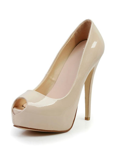 Stiletto Heel Patent Leather Peep Toe Platform High Heels OS121
