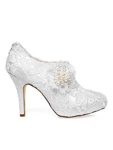 Satin Closed Toe Stiletto Heel Lace Flower White Wedding Shoes OS128