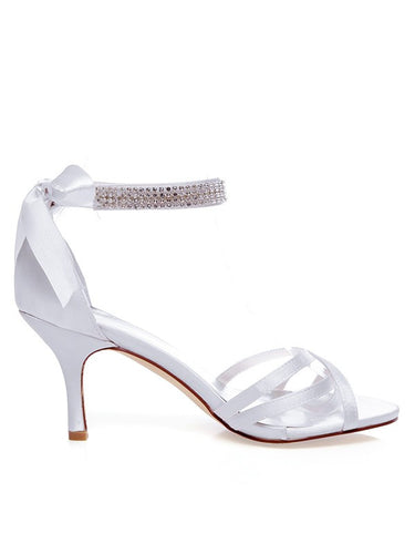 Satin Peep Toe Silk White Wedding Shoes OS124