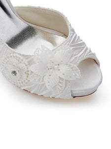 Satin PU Peep Toe Stiletto Heel Wedding Shoes With Flowers OS129