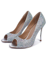 Rhinestone High Heels Sheepskin Peep Toe Stiletto Heel OS130