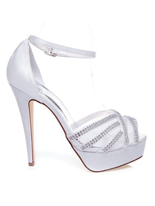 White Wedding Shoes Satin Peep Toe Stiletto Heel With Rhinestones OS125