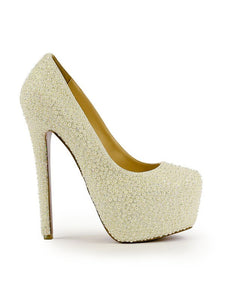 Princess Pearl High Heels Stiletto Heel Closed Toe Platform OS131