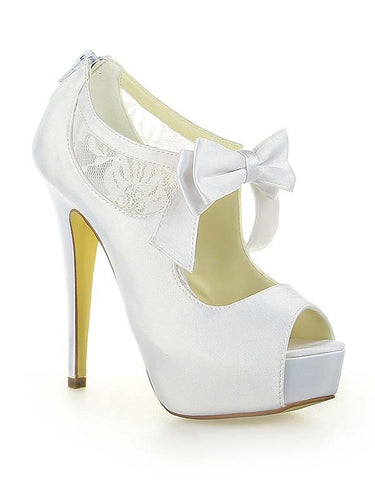 Satin PU Peep Toe Spool Heel Bowknot Wedding Shoes OS123