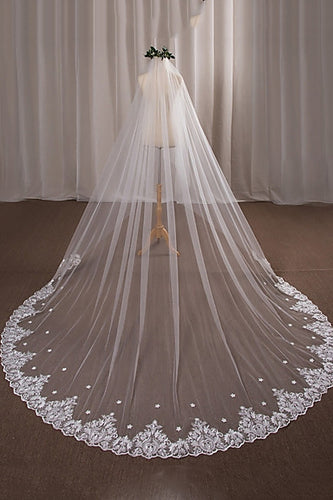 One-tier Wedding Cathedral Veils with Lace Appliques OV9