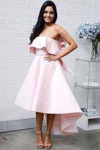 Pink Strapless High Low Bridesmaid Dresses with Bowknot OB216
