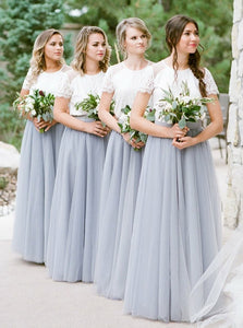 Boho Short Sleeve Scoop Neck Gray Long Bridesmaid Dresses OB217