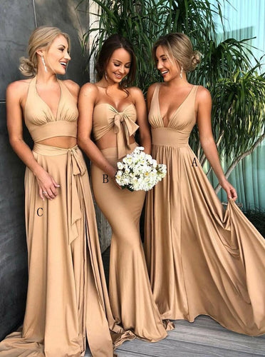 Gold Long Bridesmaid Dresses Mixed-styles A/B/C with Pleats OB220