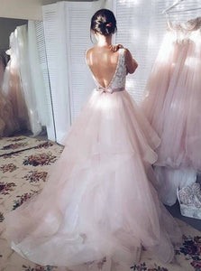 Princess Skin Pink Graduation Dresses V-neck Backless Wedding Gowns OP751