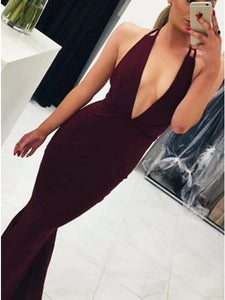 Burgundy Mermaid Plunging Neck Criss-Cross Straps Prom Dress OP691
