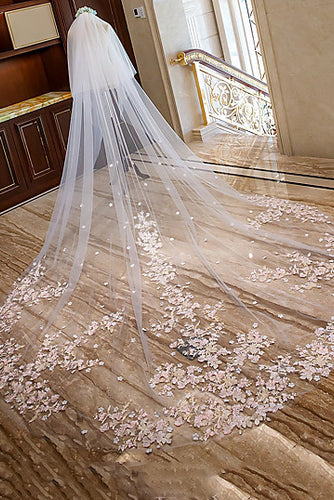 Two-tier Cathedral Wedding Veils with Lace Floral Appliques OV5
