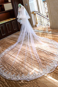 Two-tier Lace Applique Edge Wedding Veil With Ruffles OV7