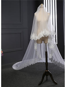 Classic Two-tier Double Layered Wedding Veil with Embroidery OV6