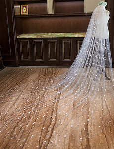 One-tier Cut Edge Chapel Wedding Veil Cathedral Veils with Heart OV4