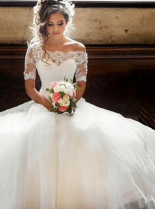 Off-the-Shoulder Lace Half Sleeves Modest Wedding Dress OW427